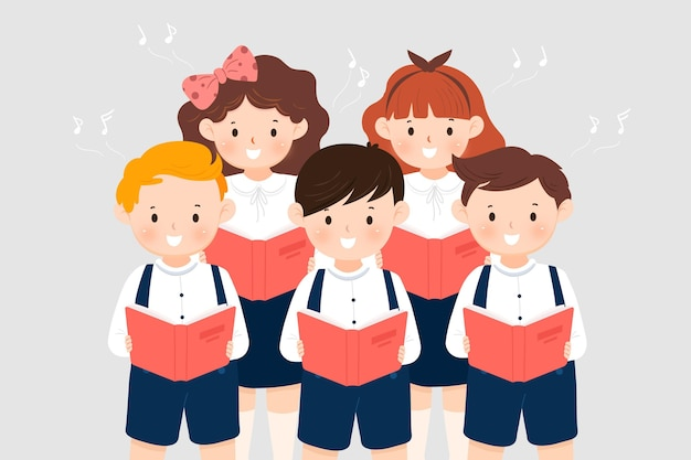 Children choir singing illustration Premium Vector