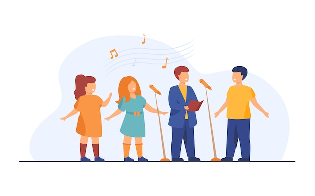 Детский хор поет песню в церкви плоской иллюстрации Бесплатные векторы
