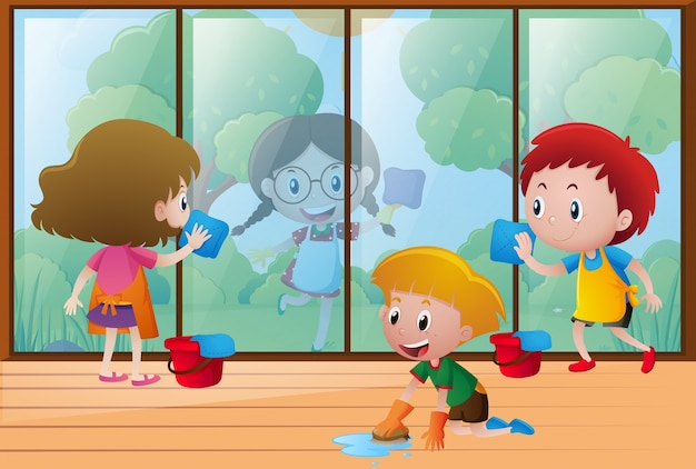 Children Cleaning Window At Home Vector