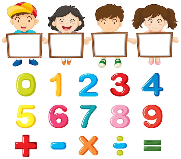 Children and colorful numbers Free Vector