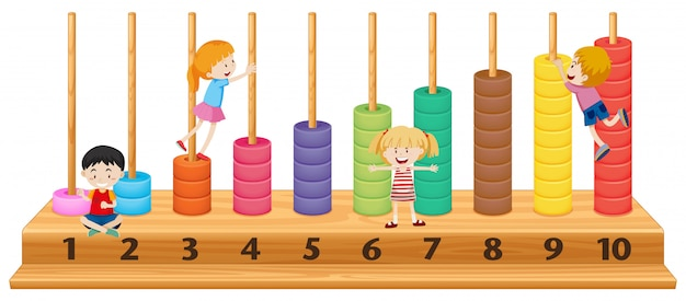 Children on colourful abacus Free Vector