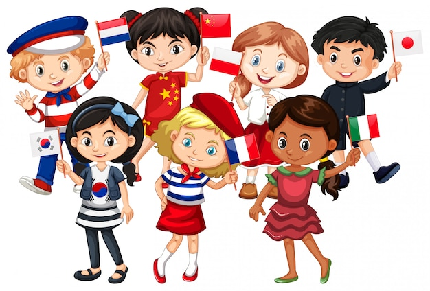 Children come from different countries Free Vector