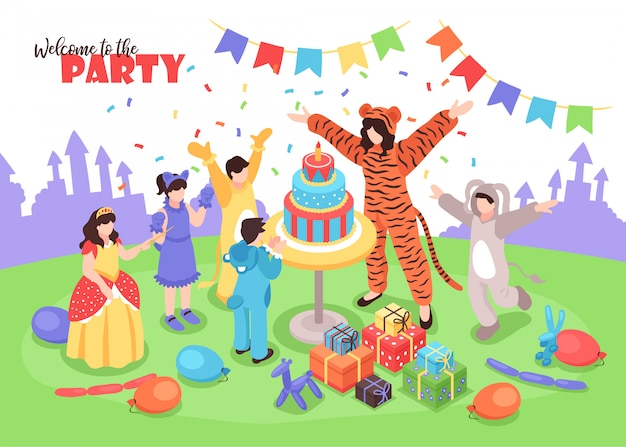 Children in costumes having fun at birthday party with female animator 3d isometric Free Vector