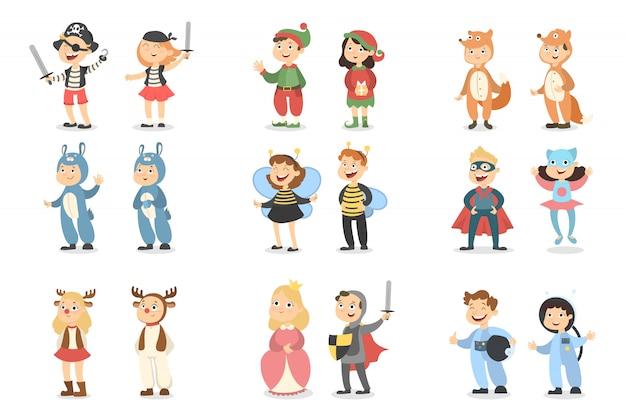 어린이 의상 세트. 동물 및 곤충, 슈퍼 히어로 및 해적. 프리미엄 벡터