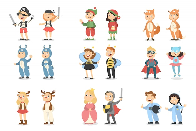 Children costumes set. animals and insects, superheroes and pirates. Premium Vector