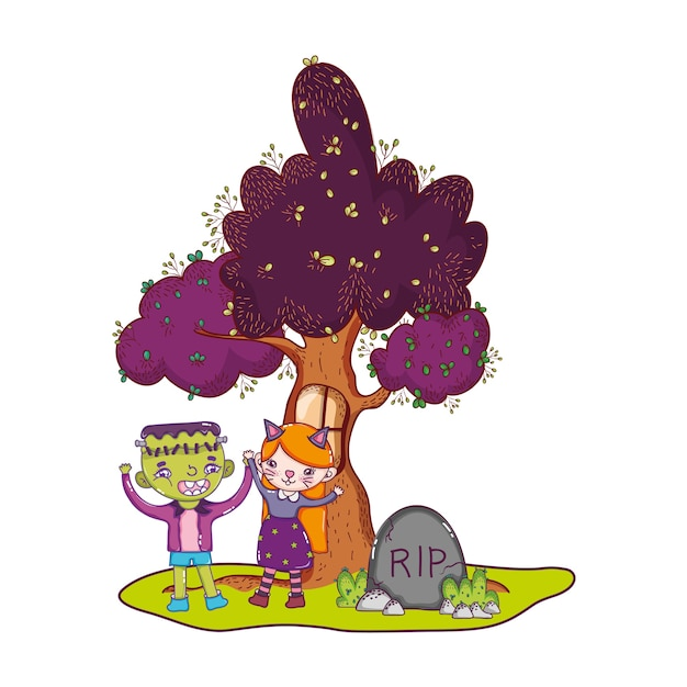 Children costumes and tree with window and rip Premium Vector