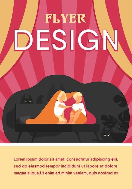 Bambini che coprono con una coperta sul letto modello di volantino piatto isolato Vettore gratuito