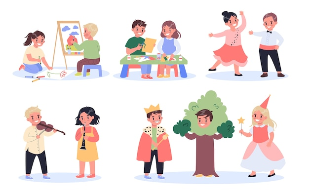 Children creative hobby set. kids drawing, crafting, dancing, acting and playing musical instruments. creative and active school kids. Premium Vector