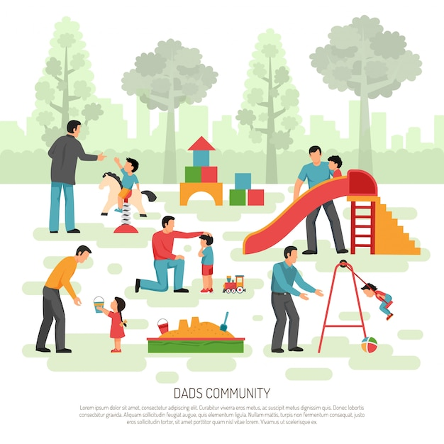 Children dad  community composition Free Vector