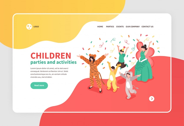 Children dancing at costume party with animator isometric banner 3d Free Vector