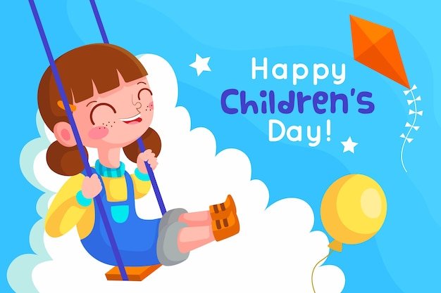 Children day concept in flat design Free Vector