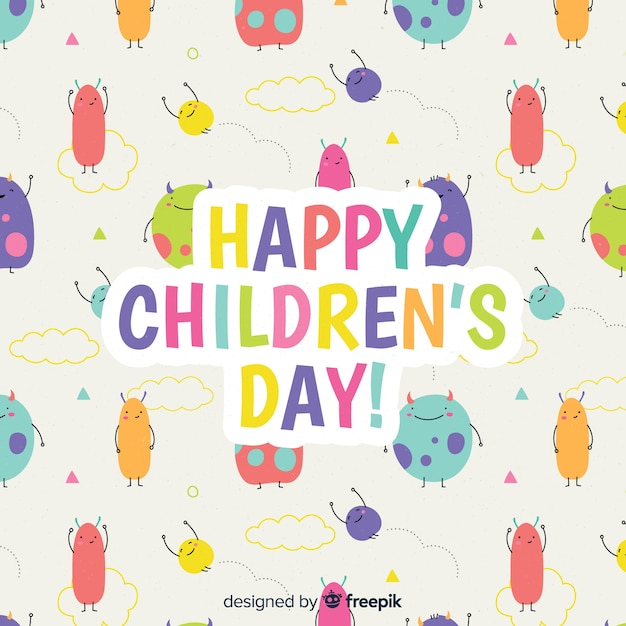 Children day concept in hand drawn Free Vector
