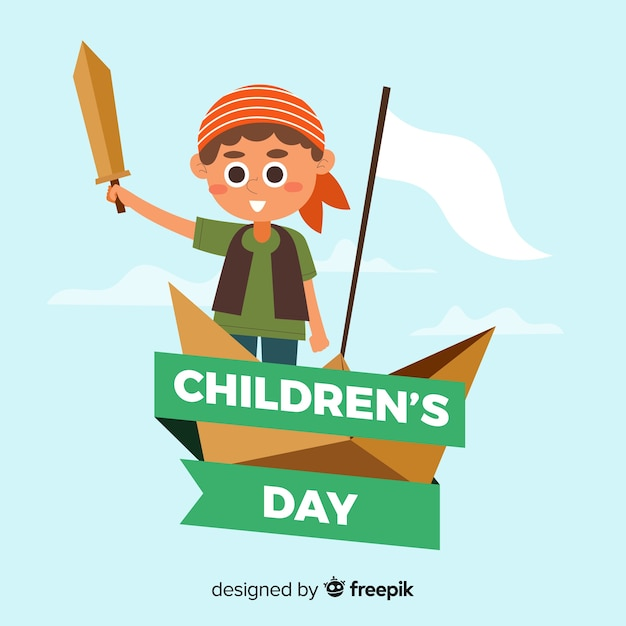 Children day event with illustration design Free Vector