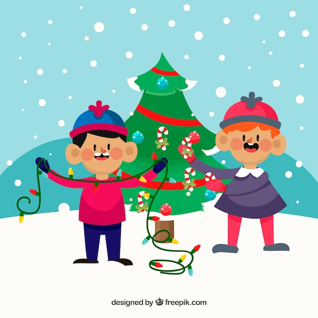 Kids Decorating Christmas Tree: Children Decorating A Christmas Tree Vector