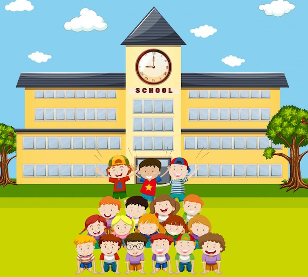 Children do human pyramid at school\ illustration