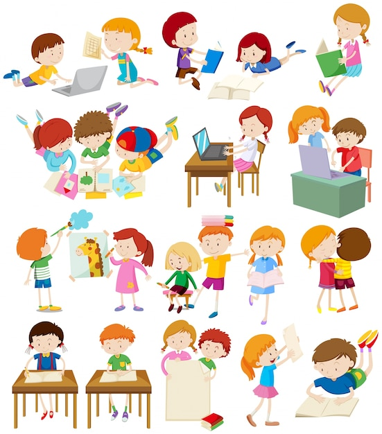 children doing activities at school illustration vector free download
