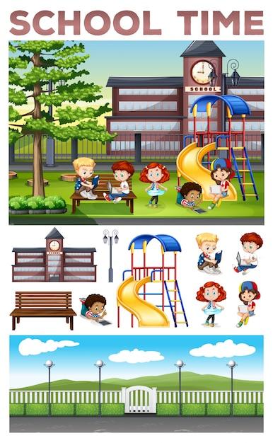 Children doing activities at school\ illustration