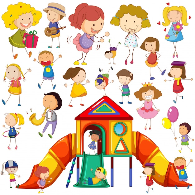 Children doing different actions and playhouse illustration Free Vector