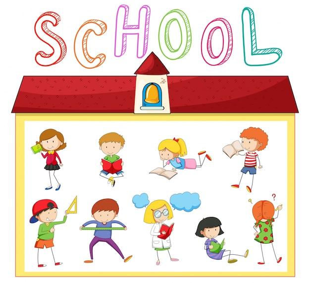 Children doing different activities at school\ illustration