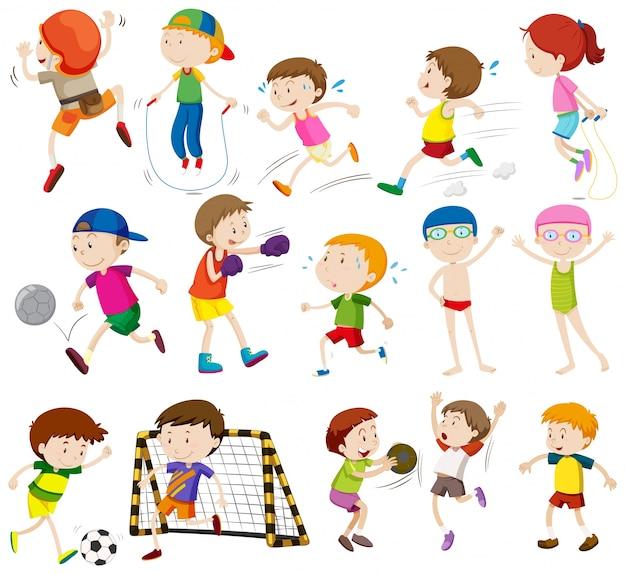 Children Doing Different Activities Illustration Vector Free Download