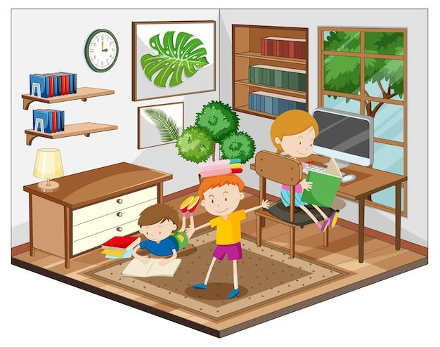 거실 장면에서 숙제를하는 아이들 무료 벡터