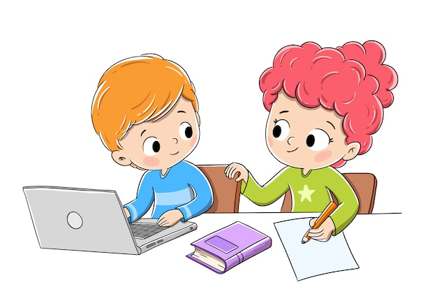 Children doing homework with a computer, a book and pencil Premium Vector