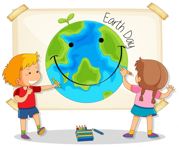 Children drawing earth day Premium Vector