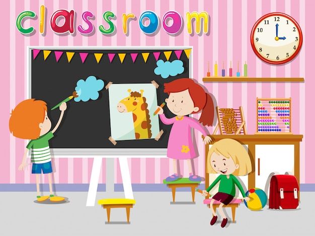 Children drawing and painting on board Free Vector