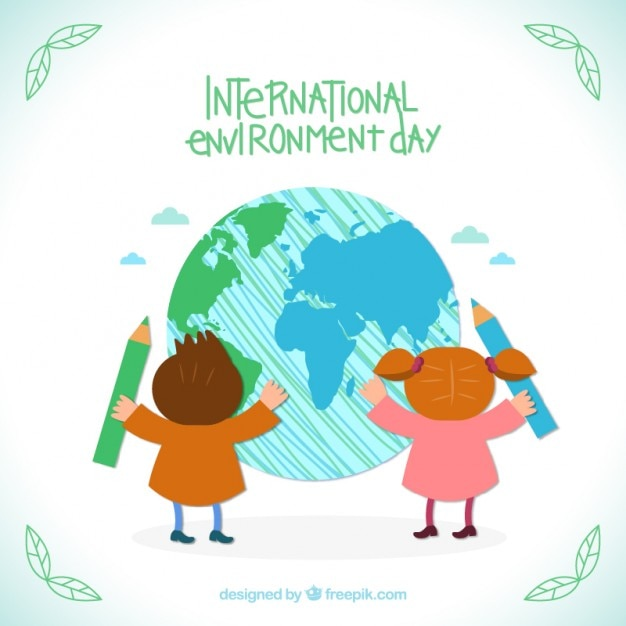 children drawing the world free vector