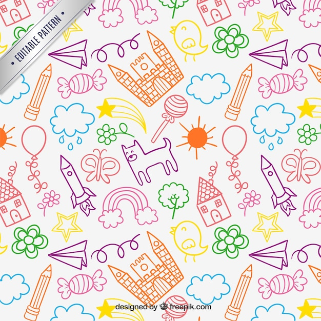 Children drawings pattern Free Vector