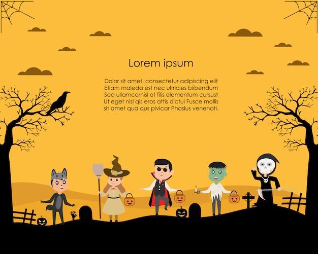 Children dressed in halloween fancy dress to go trick or treat Premium Vector