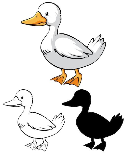 Children duck coloring worksheet Free Vector