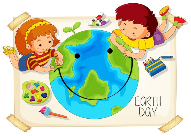 Children and earth day icon Free Vector