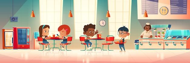 子供たちは学校の食堂で食べる 無料ベクター