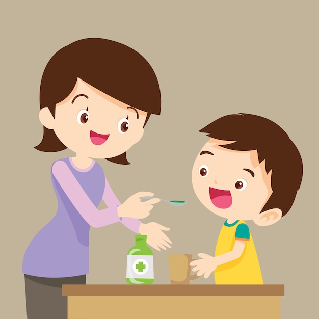 Children eat medicine Premium Vector