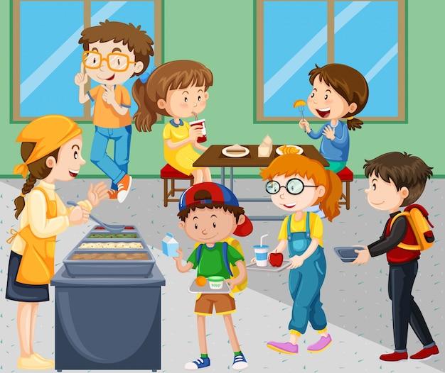 Children eating lunch in cafeteria Premium Vector