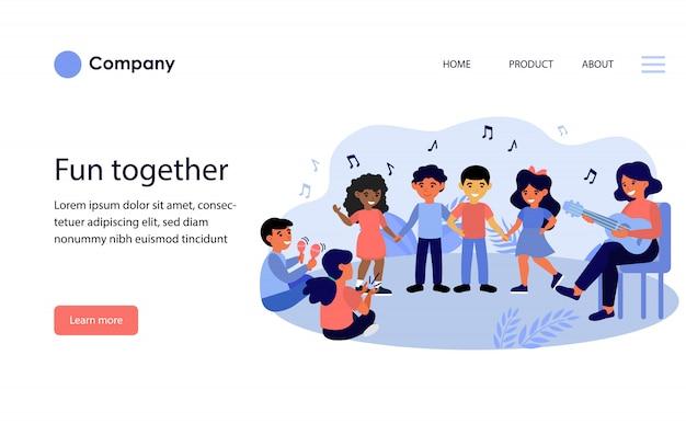 Children enjoying music class. website template or landing page Free Vector
