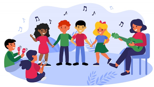 Children enjoying music class Free Vector
