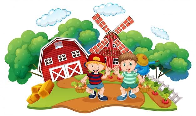 Children at the farm scene Free Vector