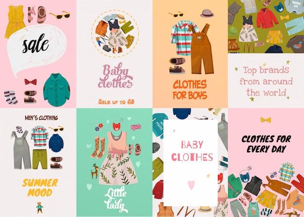 Детские модные открытки Бесплатные векторы