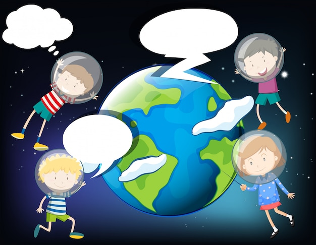 Bambini che fluttuano nello spazio intorno alla terra Vettore gratuito