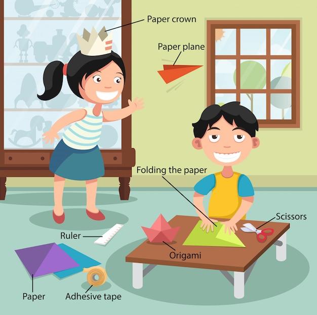 Children folding the paper Premium Vector