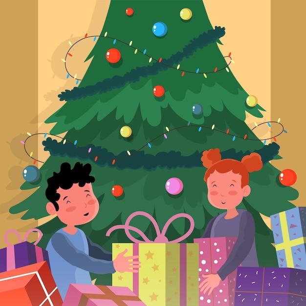 Bambini che ricevono un regalo di natale Vettore gratuito