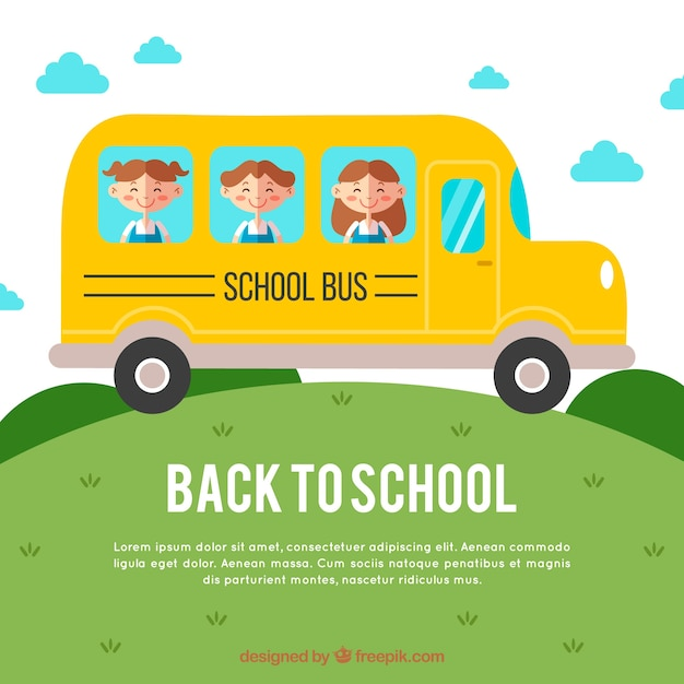 Children going to school by bus with flat design