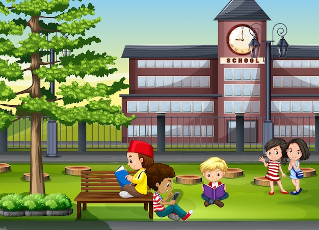 Children hanging out at the school ground Free Vector