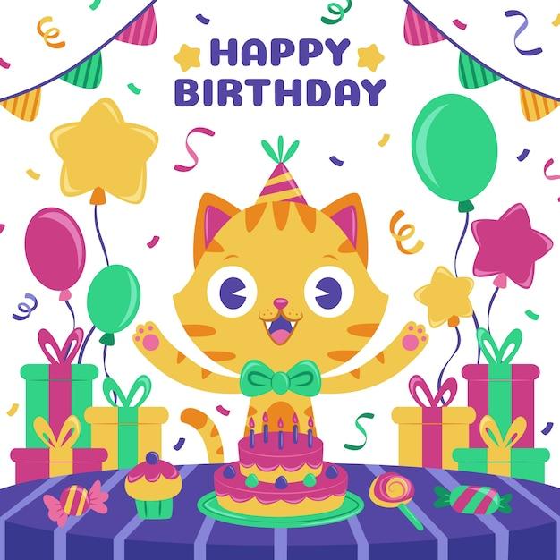 Children happy birthday background Free Vector