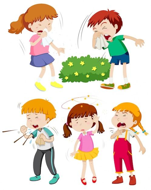 children having cold and fever illustration free vector
