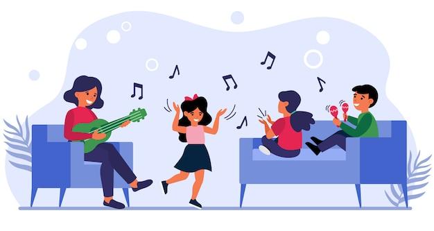 I bambini si divertono a lezione di musica Vettore gratuito