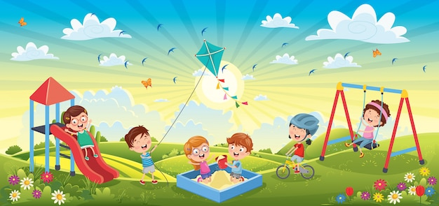 Children having fun at spring landscape Premium Vector
