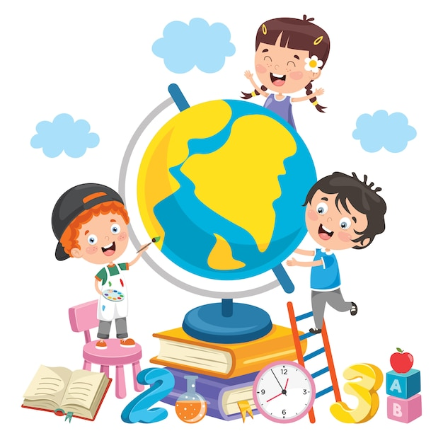 Children having fun with earth Premium Vector